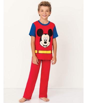 Pijama-camiseta-super-heroe-mickey-mouse-disney-capa-pantalon-largo-rojo-niño