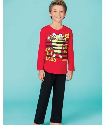 Pijama-camiseta-manga-larga-estampada--pantalon-largo-negro-rojo-niño