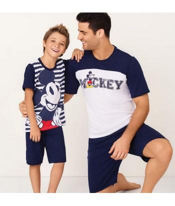 Pijama-camisa-manga-corta-estampada-mickey-disney-shrot-pantaloneta-azul-niño