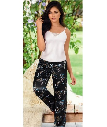 Pijama-satín-top-tiras-pantalón-bolsillos-cordón-ajustable