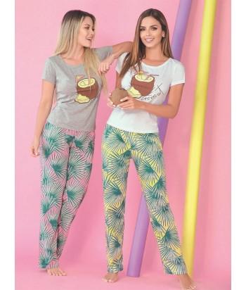 Pijama Mujer Manga Corta Pantalón Largo