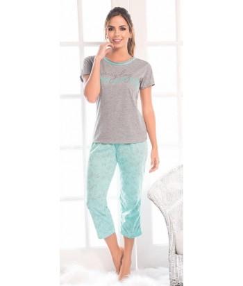 Pijama Mujer Manga corta Pantalón Capri