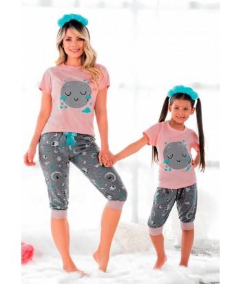 Pijama para niña manga corta estampada