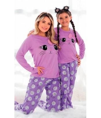 Pijama para niña estampada Gato mama e hija manga larga