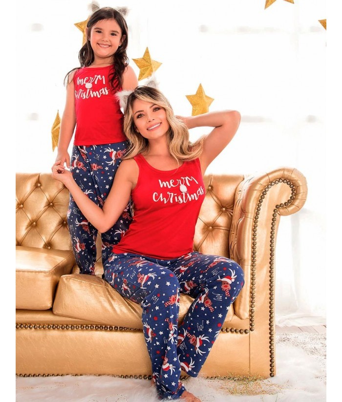 Pijama bordada en satin -Rojo