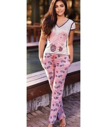 Pijama-pantalón-largo-manga-corta-viscosa-lycra-estampada