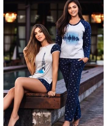 Pijama-pantalón-estampado-saco-manga-larga-tejido-especial