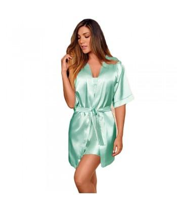 Kimono-satín-Verde Malteadomujer-tu-pijama-ropa-interior-lenceria-pijama-babydoll