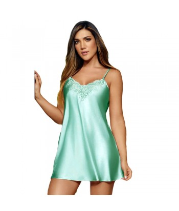 Bata-satín-bordado-Verde Malteadomujer-tu-pijama-ropa-interior-lenceria-pijama-babydoll