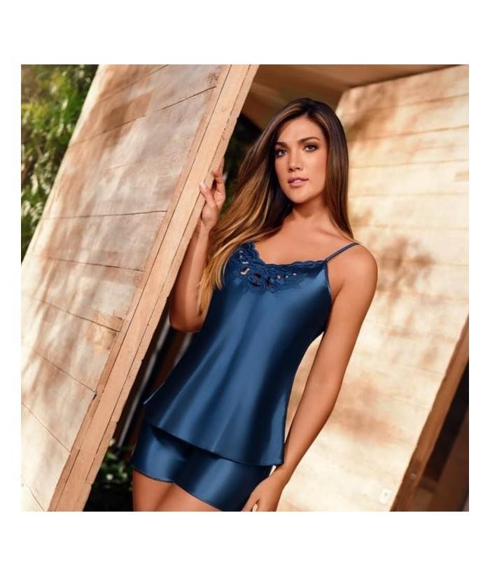 Pijama-satín-short-top-tiras-bordado-Azul nuitmujer-tu-pijama-ropa-interior-lenceria-pijama-babydoll