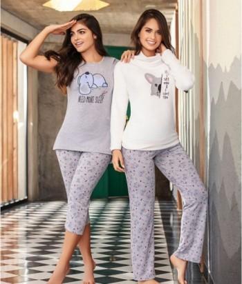 Pijama Mujer Cuello Alto Pantalón