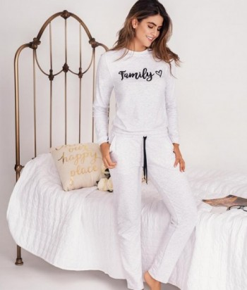 Pijama Dama Manga Larga Estampada Pantalón con bolsillos