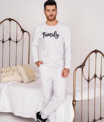 Pijama Hombre Manga Larga Estampada Pantalón con bolsillos