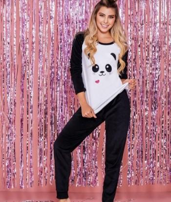 Pijama Dama Manga Larga Estampada Pantalón