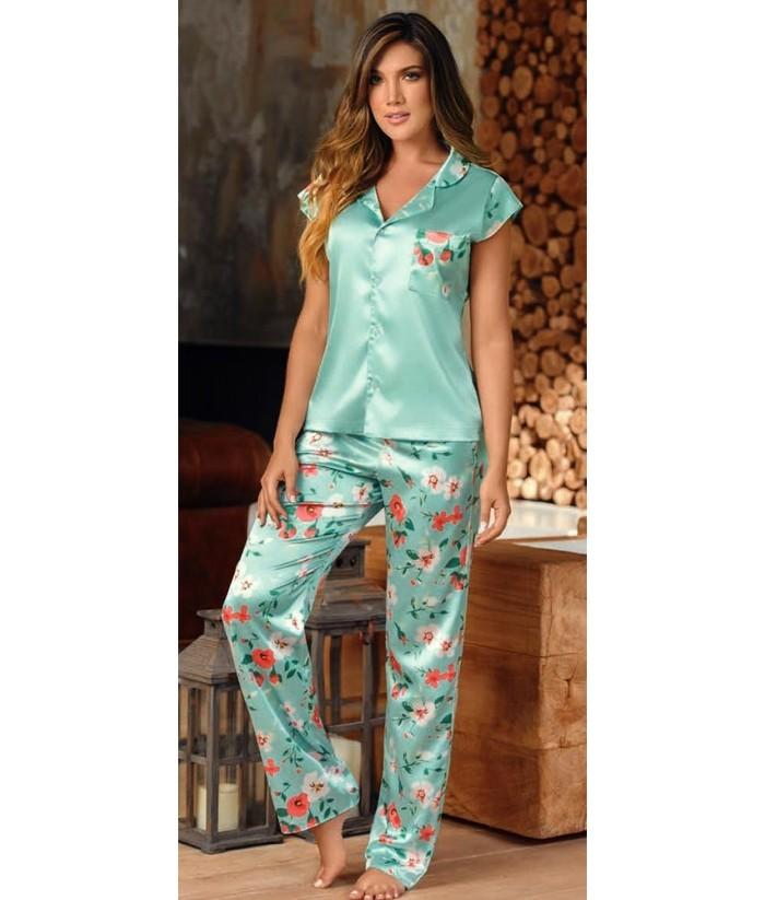 Pijama-satín-pantalón-largo-manga-japonesa-Verde Malteadomujer-tu-pijama-ropa-interior-lenceria-pijama-babydoll