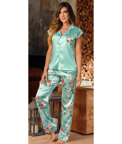 Pijama Dama Pantalón largo Satín - Verde Malteado
