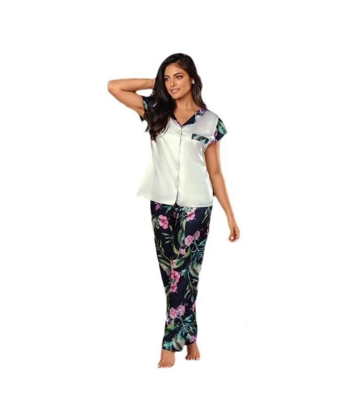 Pijama-satín-pantalón-largo-manga-japonesa-Azulmujer-tu-pijama-ropa-interior-lenceria-pijama-babydoll