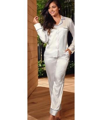 Pijama-clásica-satín-Blancomujer-tu-pijama-ropa-interior-lenceria-pijama-babydoll