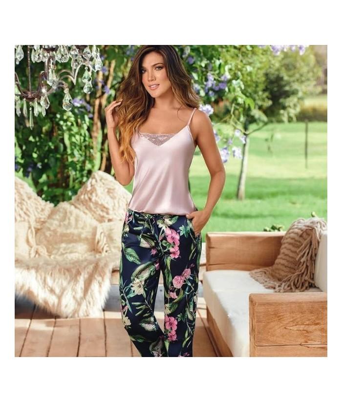 Pijama-satín-top-tiras-pantalón-bolsillos-cordón-ajustable-PalodeRosamujer-tu-pijama-ropa-interior-lenceria-pijama-babydoll