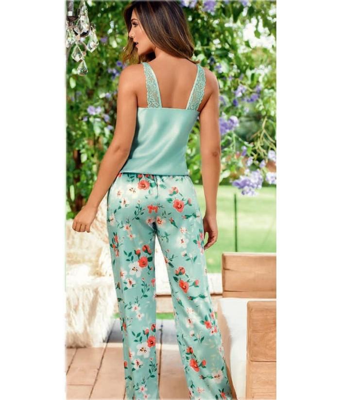 Pijama-satín-top-tiras-pantalón-bolsillos-cordón-ajustable-VerdeMalteadomujer-tu-pijama-ropa-interior-lenceria-pijama-babydoll