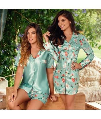 Pijama-clásica-estampada-short-manga-corta-satín-VerdeMalteadomujer-tu-pijama-ropa-interior-lenceria-pijama-babydoll