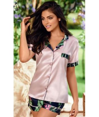 Pijama-clásica-estampada-short-manga-corta-satín-Azulmujer-tu-pijama-ropa-interior-lenceria-pijama-babydoll