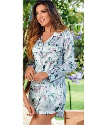 Bata-estampada-estilo-camisero-satín-Blancomujer-tu-pijama-ropa-interior-lenceria-pijama-babydoll