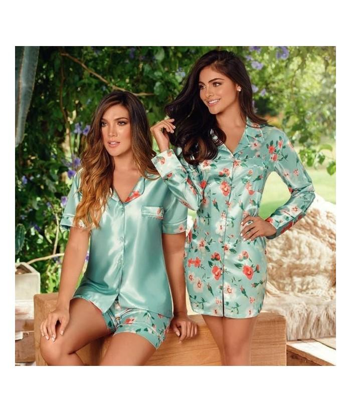 Bata-estampada-estilo-camisero-satín-VerdeMalteadomujer-tu-pijama-ropa-interior-lenceria-pijama-babydoll